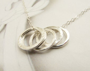 Five circles necklace, hand hammered circles, infinity necklace, gift for mom,  Minimal everyday necklace