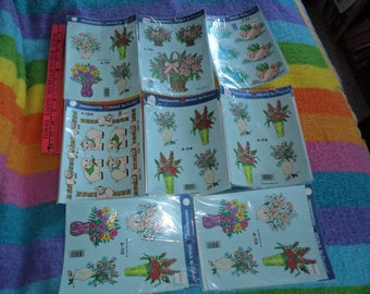 8 Still Sealed FULL Packages of Handpainted Decals by Decral - florals, swans and pigs