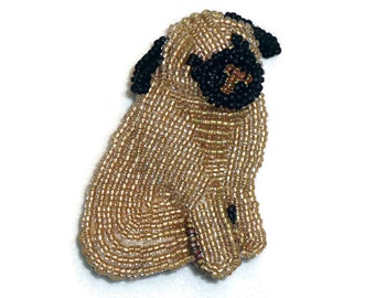 FAWN PUG keepsake beaded dog pin pendant art jewelry necklace (Made to Order)