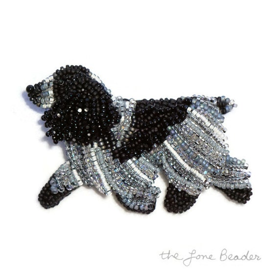 Blue Roan ENGLISH COCKER SPANIEL beaded dog pin brooch art jewelry (Made to Order)