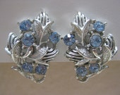 Flower Blue Rhinestone Earrings Screw Silver Vintage