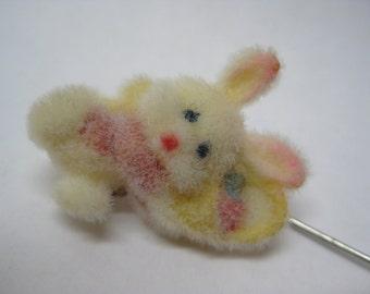 Bunny Rabbit Fuzzy Stick Pin Easter Pink White Pastel Vintage Dangle