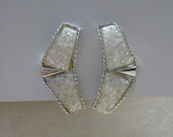 Chunky White Confetti Earrings Clip Silver Vintage
