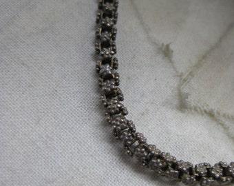 Flower Silver Texture Necklace Vintage