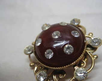 Brown Rhinestone Brooch Gold Plastic Vintage Pin
