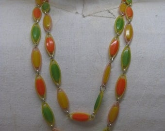 Orange Green Yellow Plastic Necklace One Strand Vintage
