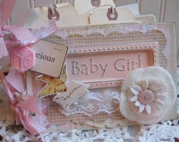 Baby Book Cover Ideas : Shabby vintage baby girl album scrapbooking by