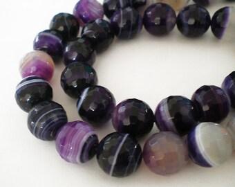 12mm Faceted Purple Stripe Agate gemstone - Full strand