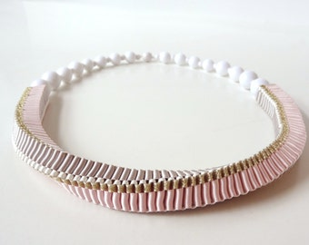 ORIBBON woven ribbon necklace limited edition colour: gold / pink / white / grey with beaded magnetic closure