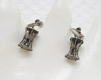 Vintage Lantern Earrings 1940s Retro Sterling Jewelry E6110
