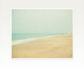 Beach Photography, Ocean Art, Landscape Photography, Seascape, Sandy Brown, Pale Grey, Minimalist Art, Nautical Decor - Sea Mist