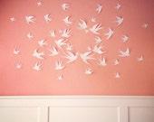 50 white 3D Bird Wall Art Circle Burst