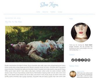 Responsive Premade Blogger Template - BLUE MOON - Graphic Design - Blog Template