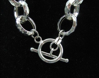 15mm Rolo Necklace Sterling Silver 18 inch Hammered Chain Links with Toggle Clasp