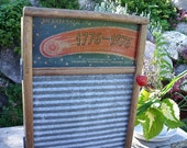 "WASHBOARD CABINET-REcycled from a ""BICENTENNIAL"" Columbus Washboard Co.-inTo WaLL Cabinet-Great MeDicine CaBiNeT / Spice Cupboard-ReD knob"