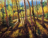 Shine 24x36 Original LARGE Oil Painting Impressionism Fall Autumn Aspens Birch trees
