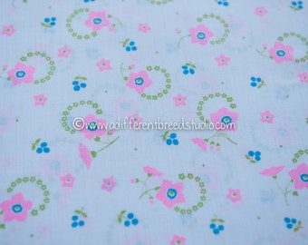 Pink and Lime Daisies - Vintage Fabric Mod Flowers Juvenile Floral Novelty