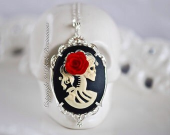 Miss Skeleton Gothic Necklace - 925 Solid Sterling Silver American Made Setting 40x30mm Cameo - Free Domestic Shipping - 6 Cameo Colors