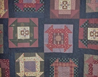 Patchwork Quilt - Queen size navy and plum Japanese Churn Dash
