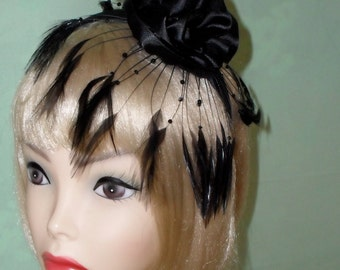 Ready To Ship Black Feather Fascinator Headband by Taissa Lada Designs,Burlesque,Kentucky Derby,Vaudeville,Old Hollywood,Gothic,Vaudeville