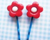 Ruby Red Flower Hair Clips