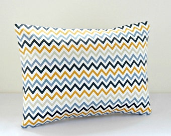 12 x 16 inch zig zag lumbar decorative pillow cover, mustard, charcoal gray, blue grey, sage dandelion chevron cushion cover