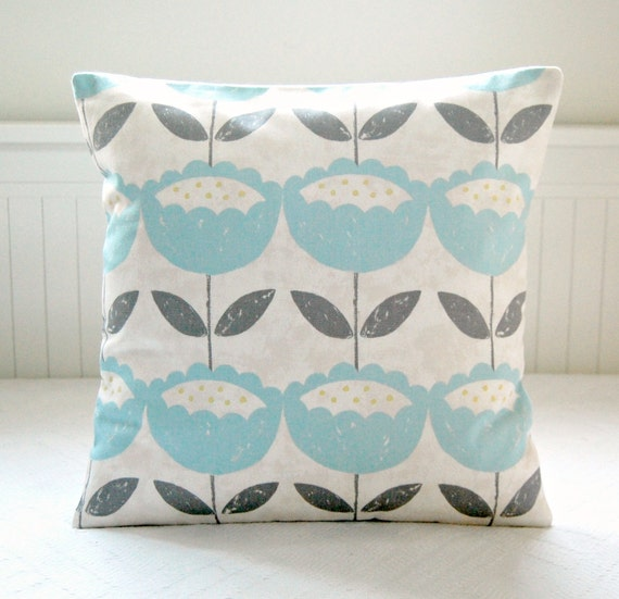 Baby Blue Decorative Pillow : decorative pillow cover baby blue grey leaves retro flowers