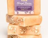Lavender Oatmeal Soap Bar w/ Lemongrass. Natural/ Handmade/ Artisan. Generous 4.5 oz  Vegan Bar. Made with Rainwater & Pure Essential Oil.