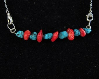 Turquoise, Coral and Sterling Bar Pendant RKS466