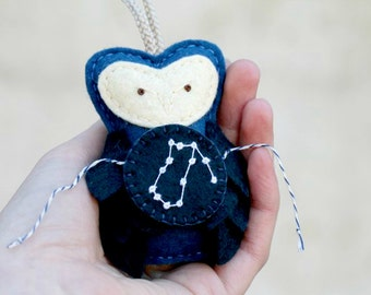 AQUARIUS Ornament Felt Owl Star Gazer Gift February Birthday, Midnight Blue Unique Felt Christmas Ornament Animal, Handmade by OrdinaryMommy