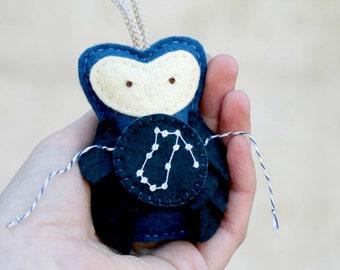 AQUARIUS Ornament Felt Owl Star Gazer Gift February Birthday, Midnight Blue Unique Felt Christmas Ornament Animal, Handmade by OrdinaryMommy
