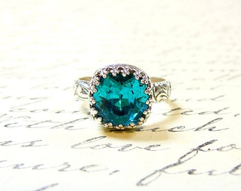 Ana Ring - Vintage Goth Sterling Silver Floral Band Blue Zircon Swarovski Crystal Ring with Tiara Crown Bezel