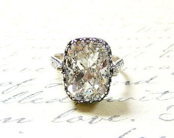Alexandria Ring - Vintage Style Sterling Silver Engagement Solitaire with Swarovski Cushion Crystal and Tiara bezel