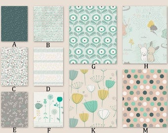 Custom Baby Crib Bedding Nursery Mint Gold Peach Gray Taupe Dots Bunnies Floral Woodland Animals Pastels Green Aqua - Littlest in Pine Woods