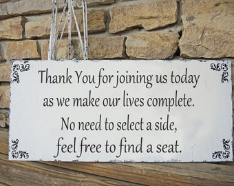 No Seating Plan Wedding Sign 20x9 Seating Signs Thank You- Wedding signs