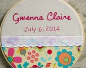 Reserved for Linda  Custom Birth Announcement Hoop Art