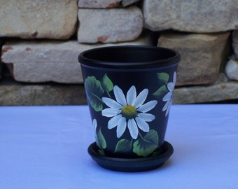 Hand Painted Clay Flower Pot with White Daisies