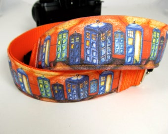 Tardis Van Gogh dslr camera strap for use with all models of dSLR and SLR camera styles