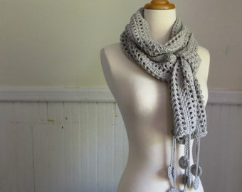 Long Circle Fringe Scarf—Bleached Gray
