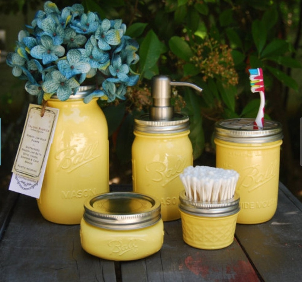 Mason jar bath set warm yellow mason jar dispenser home by for Yellow bathroom decor