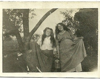 Antique Photograph Playful Girls With Long Hair Carry Old Cream Can Lift Skirts Up Vintage Photo