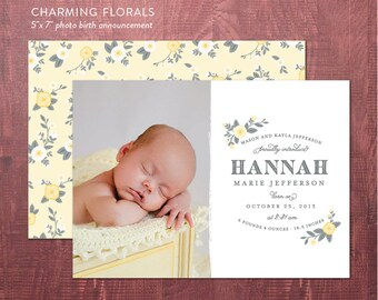 New Baby Birth Announcement - DIY newborn birth announcement, photocard