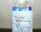 Big Moose in the Grass on Custom Can Cooler with Personalized Name and Picture on Any Color Cooler with Moose Outline