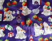 Halloween Fabric Ghouls and Ghosts 1 yard Cotton