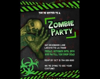 Zombie Party Halloween Invitations - Stationery by razzledazzledesign on Etsy