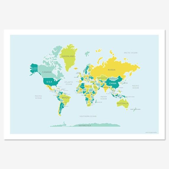 Classic World Map Print