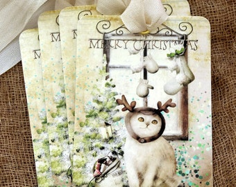 Merry Christmas Kitty Cat Reindeer Christmas Gift or Scrapbook Tags or Magnet #490