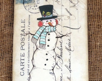 Whimsical French Snowman Tags #191