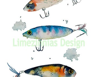 Watercolor Fishing Lures Art Print-Boy's Room-Wall Art-Guy's Room-Cabin Art-Boys Decor-Lakehouse Art