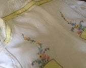 Sale**Dreamy YELLOW n White ORGANZA APRON, Embroidered Organza Apron,Moms Day Gift,Bridal Gift,Hostess Gift